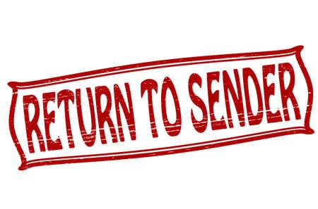 sender: Stamp with text return to sender inside, vector illustration