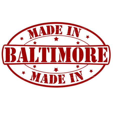 baltimore: Stamp with text made in Baltimore inside, vector illustration Illustration