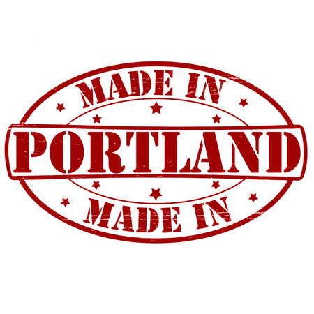 Stamp with text made in Portland inside, vector illustration Vector