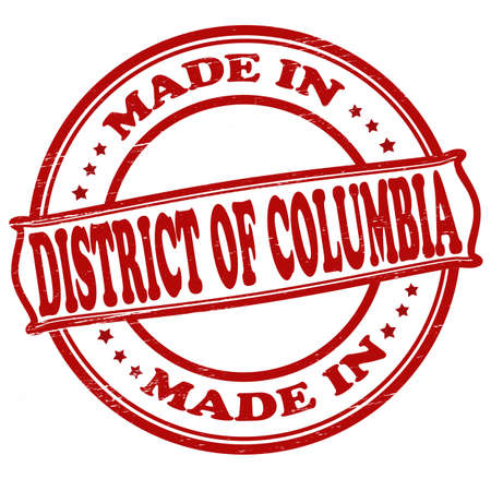 district columbia: Stamp with text made in District of Columbia inside Illustration