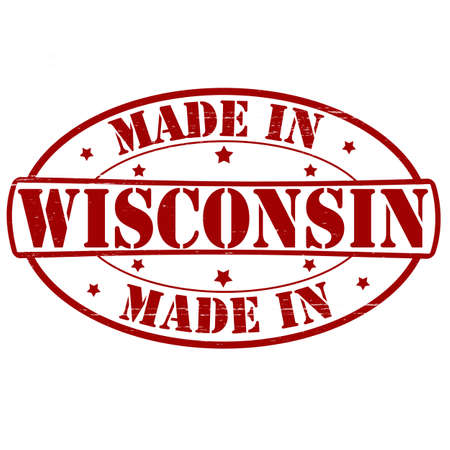 wisconsin: Stamp with text made in Wisconsin inside Illustration