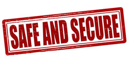 Stamp with words safe and secure inside, vector illustration