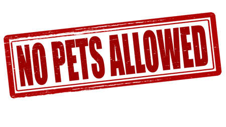permitted: Stamp with text no pets allowed inside, vector illustration