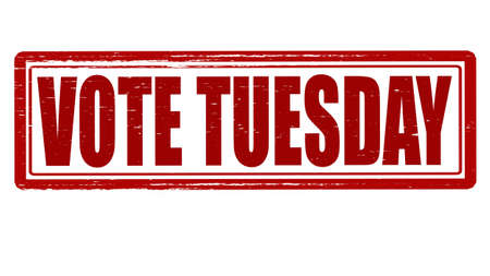 tuesday: Stamp with text vote Tuesday inside, vector illustration