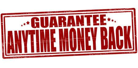 surety: Timbro con il testo in qualsiasi momento i soldi indietro dentro, illustrazione vettoriale Vettoriali