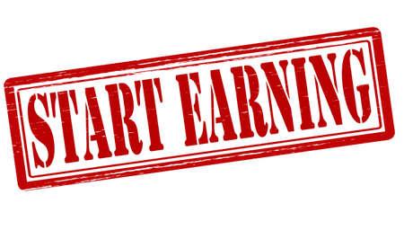 commence: Stamp with text start earning inside, vector illustration Illustration