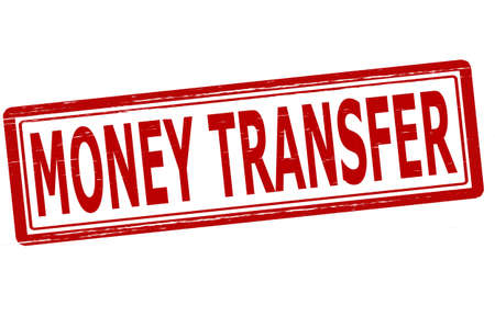 transference: Stamp with text money transfer inside, vector illustration