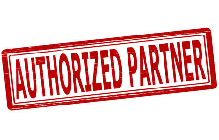 authorized: Stamp with text authorized partner inside, vector illustration