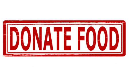 chow: Stamp with text donate food inside, vector illustration Illustration