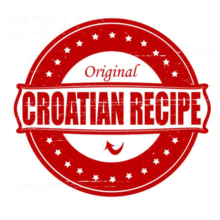 peculiar: Stamp with text Croatian recipe inside illustration