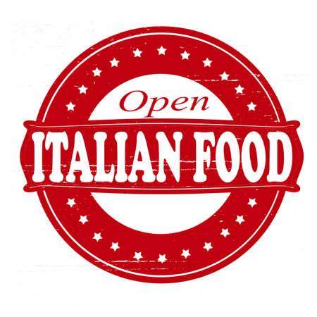 overt: Stamp with text Italian food inside illustration Illustration