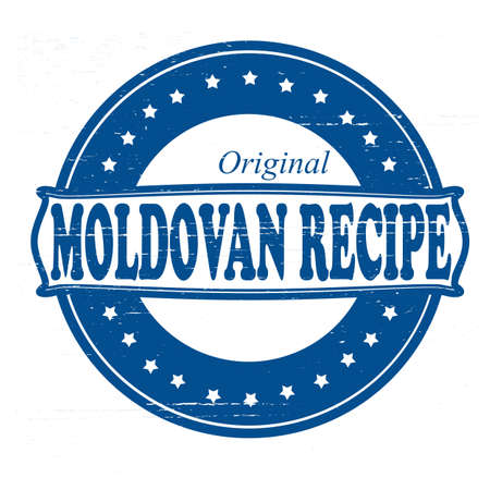 peculiar: Stamp with text Moldovan recipe inside illustration