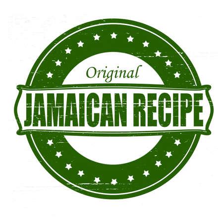 jamaican: Sello con texto de recetas de Jamaica dentro de Ilustraci�n Vectores