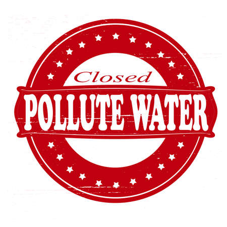 pollute: Stamp with text pollute water inside illustration Illustration