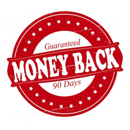 backwards: Stempel met tekst geld terug binnen, vector illustratie Stock Illustratie