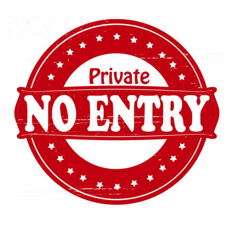Stamp with text private no entry inside, vector illustration