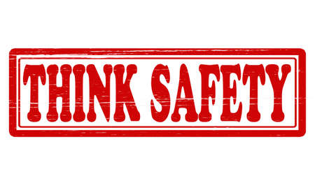 think safety: Stamp with text think safety  inside, vector illustration