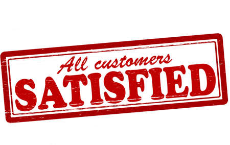 satisfied: Stamp with word satisfied inside, vector illustration