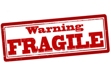 Stamp with text warning fragile inside, vector illustration
