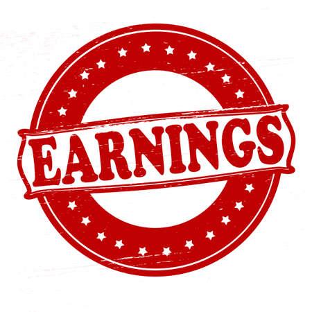 earnings: Stempel mit Wort Gewinn im Inneren, Vektor-Illustration