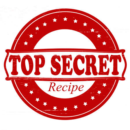 Stamp with text top secret recipe inside, vector illustration Vector