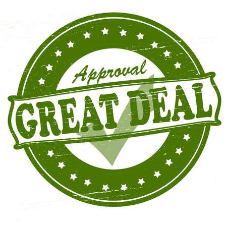 endorsement: Stamp with text great deal inside, vector illustration Illustration