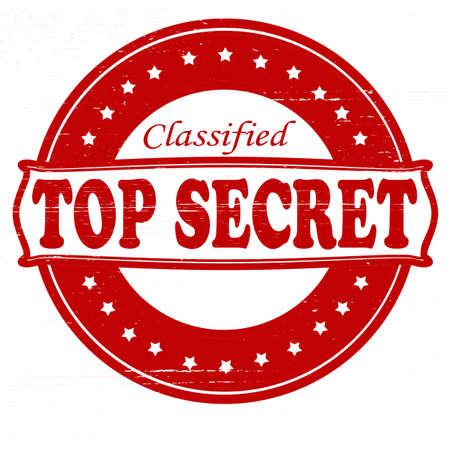 distinguish: Stamp with text top secret inside, vector illustration