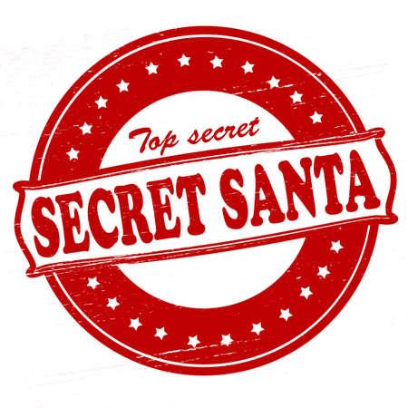 Stamp with text Secret Santa inside, vector illustration Çizim