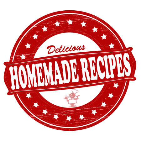 savoury: Stamp with text homemade recipes inside, vector illustration