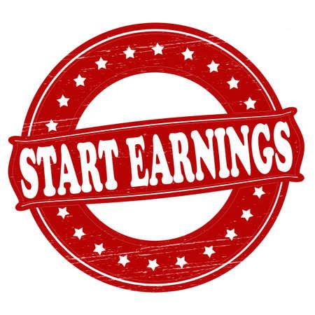 earnings: Stempel mit Text Starten Ergebnis innen, Vektor-Illustration