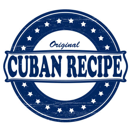 peculiar: Stamp with text original Cuban recipe inside, vector illustration Illustration