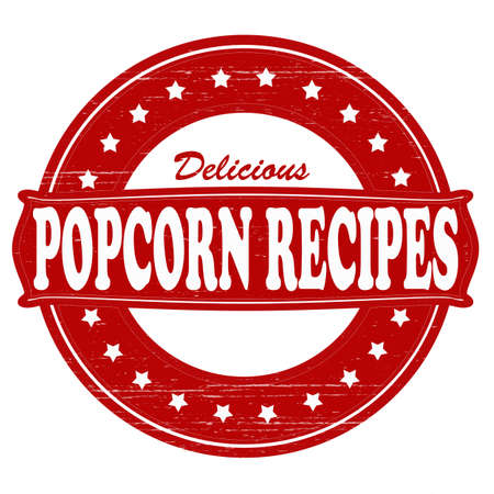 savoury: Stamp with text popcorn recipes inside,vector illustration