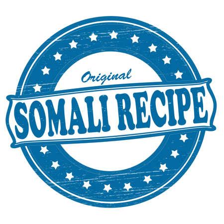 somali: Sello con texto receta somal� interior, ilustraci�n vectorial