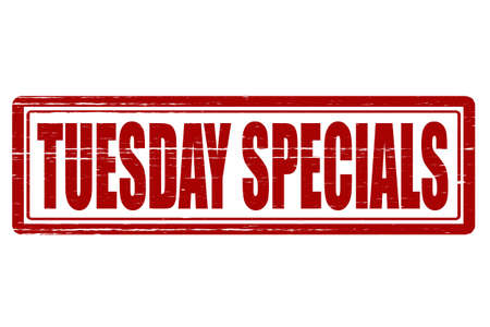 Stamp with text tuesday specials inside, vector illustration