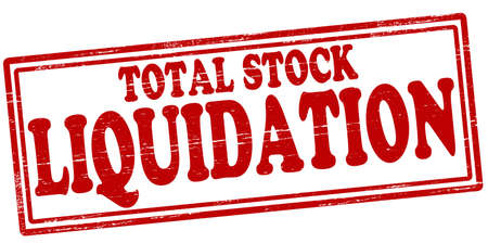 liquidation: Stamp with text total stock liquidation inside, vector illustration