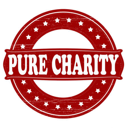 mere: Stamp with text pure charity  inside, vector illustration