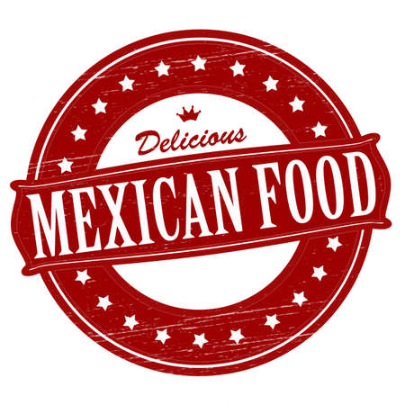 tommy: Stamp with text mexican food  inside, vector illustration Illustration