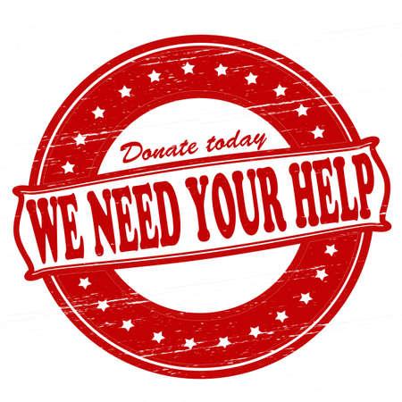 helpers: Sello con texto, necesitamos su ayuda interior, ilustraci�n vectorial