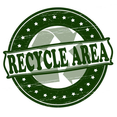 recycle area: Sello con el �rea de reciclaje texto dentro, ilustraci�n vectorial