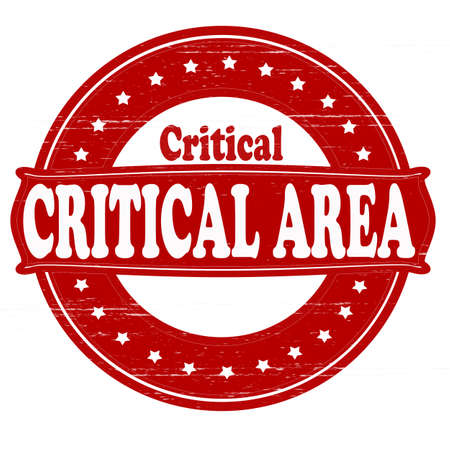 crucial: Stamp with text critical area inside, vector illustration Illustration