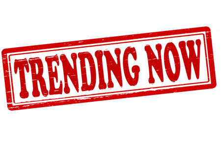 trending: Stamp with text trending now inside, vector illustration Illustration