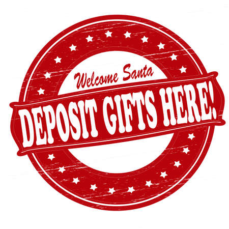 felicitous: Stamp with text deposit gifts here inside, vector illustration