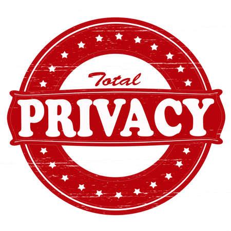 totales: Sello con el texto total privacidad en el interior, ilustraci�n vectorial