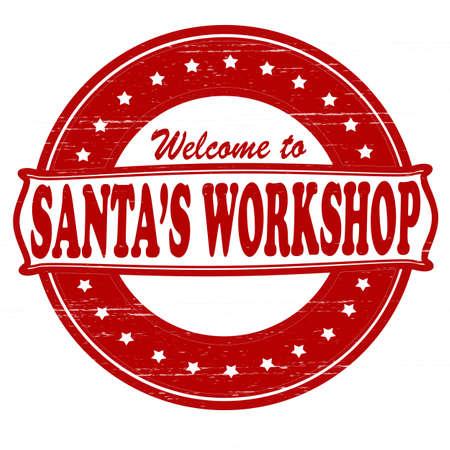Stamp with text Santa workshop inside, vector illustration
