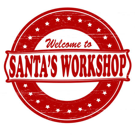 felicitous: Stamp with text Santa workshop inside, vector illustration