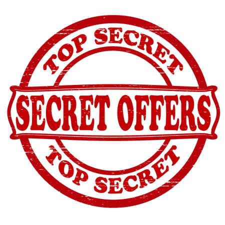 Stamp with text secret offers inside, vector illustration Illustration