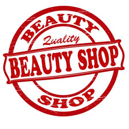 beauty shop: Sello con texto sal�n de belleza interior, ilustraci�n vectorial Vectores