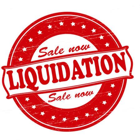 Stempel met het woord liquidatie binnen, vector illustratie