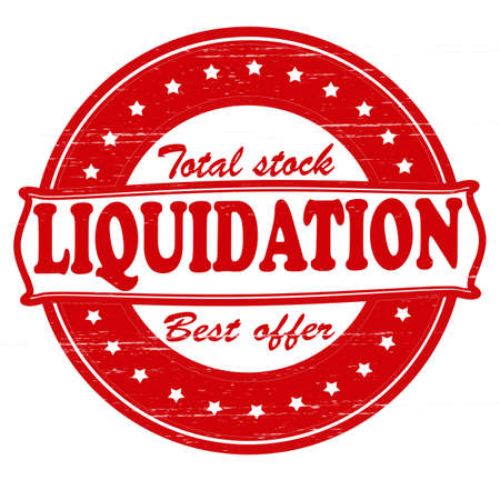 hoard: Stamp with word liquidation inside, vector illustration