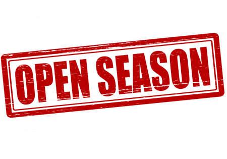outspoken: Stamp with text open season inside, vector illustration Illustration